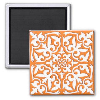 Aimant Tuile marocaine - orange et blanc de corail
