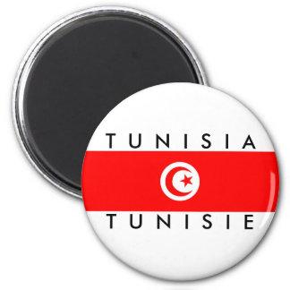 Aimant tunisie de symbole des textes de nom de drapeau de