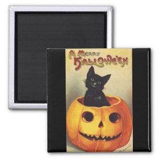 Aimant Un joyeux Halloween, chat noir vintage en