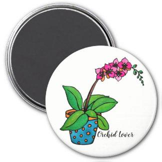 Aimant Usine d'orchidée d'aquarelle dans le beau pot