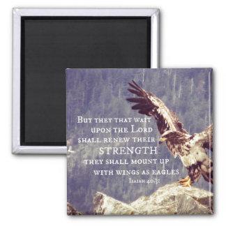 Aimant Vers de bible : Remplacez la force, ailes comme