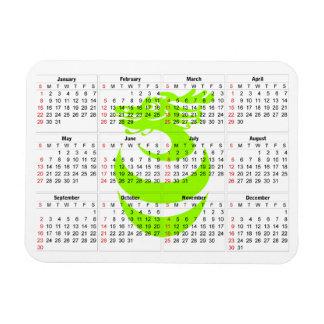 Aimant vert clair de prime de dragon de calendrier magnet rectangulaire avec photo