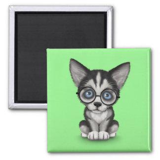 Aimant Vert de port en verre de chiot mignon de chien de
