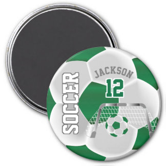 Aimant Vert-foncé et blanc personnalisez le ballon de