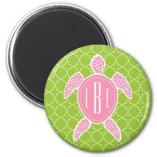 Aimant Vert rose décoré d'un monogramme Quatrefoil de