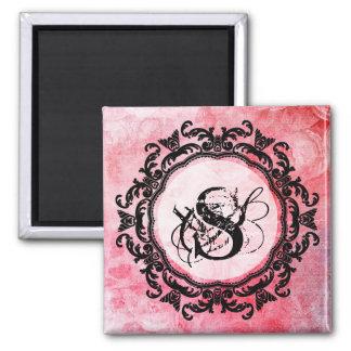 Aimant Vieux motif rose romantique de rose