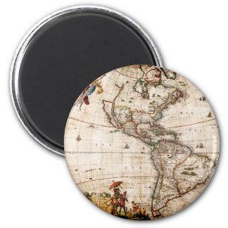 Aimant Vieux nord antique et carte de l'Amérique du Sud