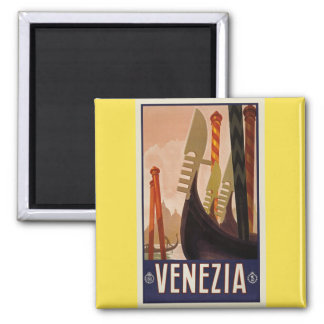 Aimant vintage d'affiche de bateaux de Venezia