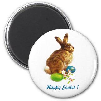 Aimant vintage de cadeau de lapin de Pâques