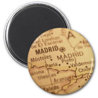 Aimant vintage de carte de Madrid