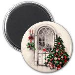 Aimant vintage de fenêtre de Noël