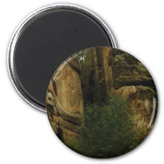 Aimant visage jaune de roche avec des arbres