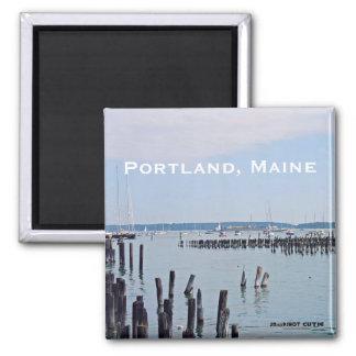 Aimant Voiliers sur la côte du vieux port, Portland Maine