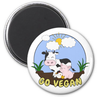 Aimant Vont le végétalien - porc, vache et poulet mignons