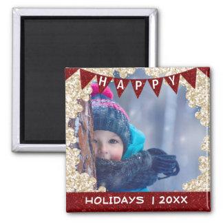 Aimant Votre bannière de rouge de cadre de photo de Noël