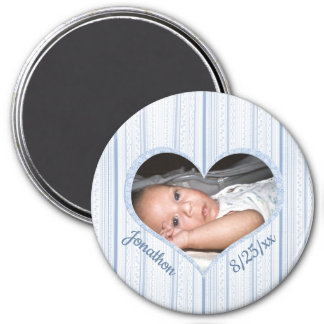 Aimant Votre bébé au coeur bleu sur les rayures bleues