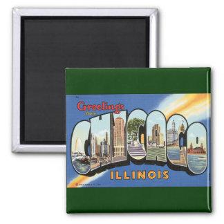 Aimant Voyage vintage, salutations de Chicago l'Illinois