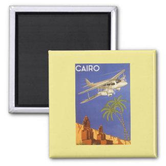 Aimant Voyage vintage vers le Caire, Eygpt, avion de