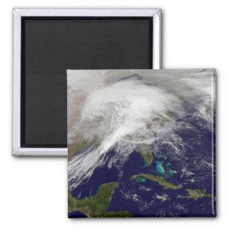 Aimant Vue satellite d'une tempête massive d'hiver