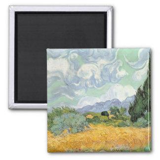 Aimant Wheatfield de Vincent van Gogh | avec des cyprès,