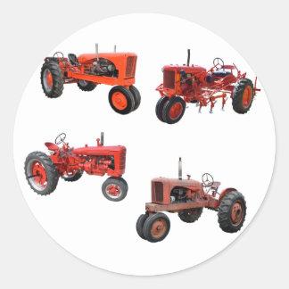 Aimez ces vieux tracteurs rouges adhésif rond