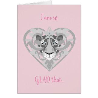 Aimez la carte de Valentine de pendentif de lionne