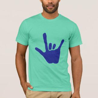 Aimez la main, langue des signes, dans le bleu, t-shirt