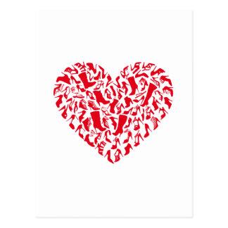 Aimez les chaussures, coeur rouge avec des cartes postales