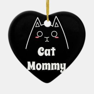 Aimez ma maman de chat ornement cœur en céramique