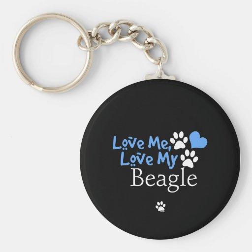Aimez-moi, aimez mon beagle porte-clé