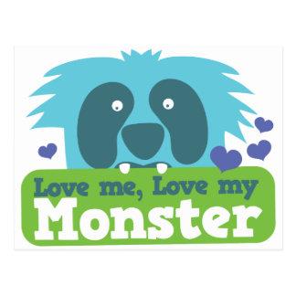 Aimez-moi amour mon monstre carte postale