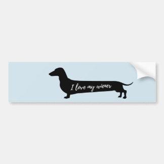 Aimez mon bumpersticker de chien de saucisse autocollant pour voiture