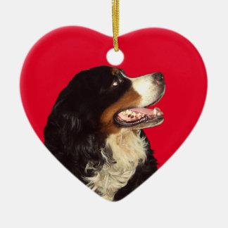 Aimez mon chien de montagne de Bernese Ornement Cœur En Céramique