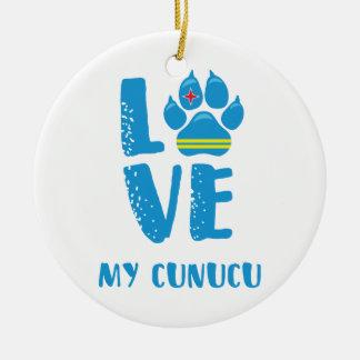 AIMEZ MON CUNUCU (lettres bleues) - ornement
