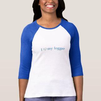 Aimez mon enregistreur - coeur de plaid t-shirt