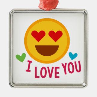 Aimez-vous Emoji Ornement Carré Argenté