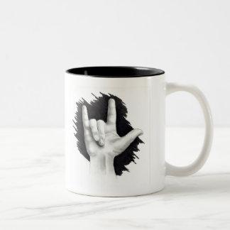 Aimez-vous : Langue des signes américaine : Main Mug Bicolore