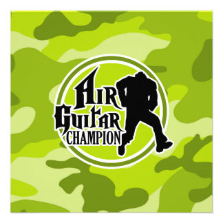 Air guitar drôle camo vert clair camouflage invitations personnalisables