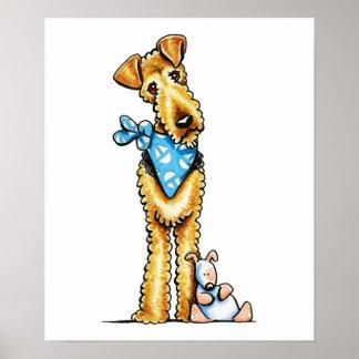 Airedale Terrier et chiot Affiche