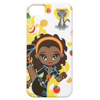 Aisha la fille et le chat de Kawaii d'Afro-américa Coque Case-Mate iPhone 5