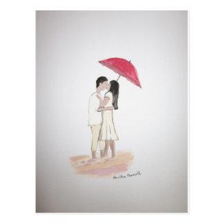Ajouter d'amour au parapluie rouge carte postale
