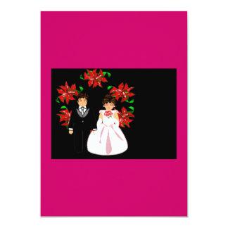 Ajouter de mariage de Noël au bleu de rose de Carton D'invitation 12,7 Cm X 17,78 Cm