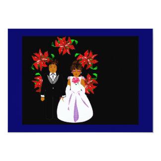 Ajouter de mariage de Noël au noir bleu de Carton D'invitation 12,7 Cm X 17,78 Cm