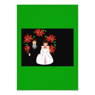 Ajouter de mariage de Noël au rose de vert de Carton D'invitation 12,7 Cm X 17,78 Cm