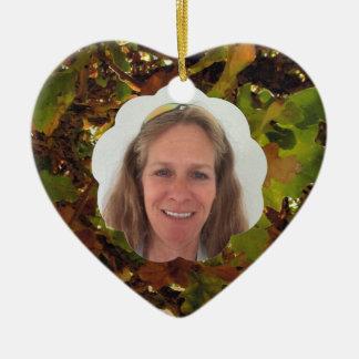 Ajoutez le nuage d'automne de photo ornement cœur en céramique