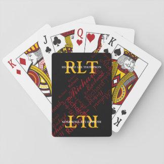 ajoutez les initiales et le nom pour obtenir cartes à jouer