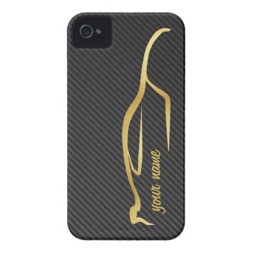 """""""ajoutez votre"""" logo nommé de silhouette d'or coque Case-Mate iPhone 4"""