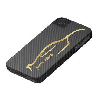 """""""ajoutez votre"""" logo nommé de silhouette d'or d'ho coque Case-Mate iPhone 4"""