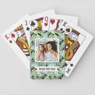 Ajoutez votre motif floral de jungle nommée de | cartes à jouer