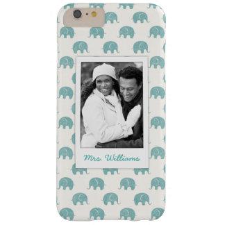 Ajoutez votre motif turquoise mignon d'éléphant de coque iPhone 6 plus barely there